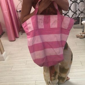 Victoria's Secret Bags - Victoria's Secret pink striped large tote bag
